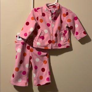 girls 6/12 months 2 piece outfit fleece polka dots
